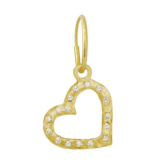 Gold Compass Heart with Stones • Endless Hoop Charm Earring-Brevard