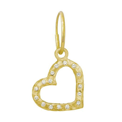Gold Compass Heart Earring with Stones-Brevard