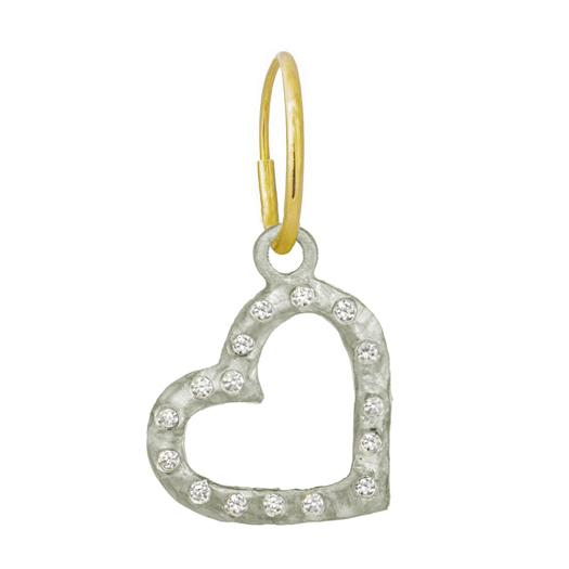 Compass Heart with Stones • Endless Hoop Charm Earring-Brevard