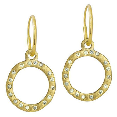 Gold Compass with Stones • Endless Hoop Charm Earring-Brevard