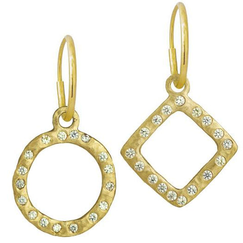 Gold Compass Mismatched Earring Pair with Stones-Brevard