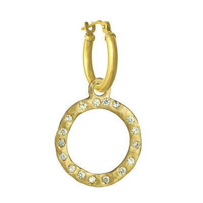 Gold Compass with Stones • Latch Hoop Charm Earring-Brevard