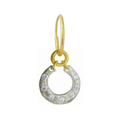 Two-Tone Crescent with Stones • Endless Hoop Charm Earring-Brevard
