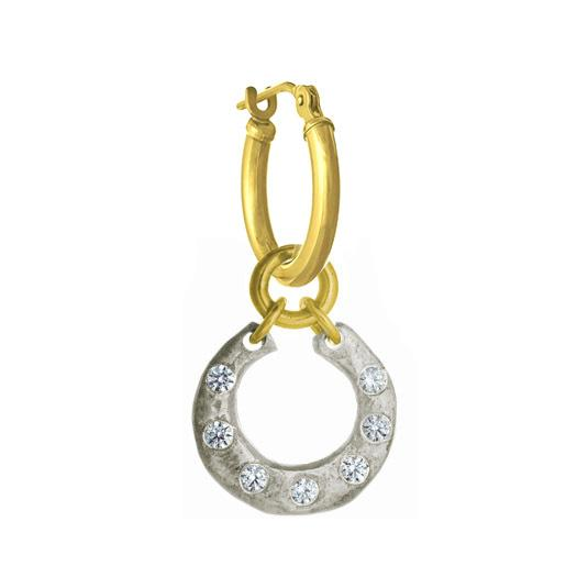 Two-Tone Crescent with Stones • Latch Hoop Charm Earring-Brevard