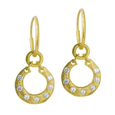Gold Crescent with Stones • Endless Hoop Charm Earring-Brevard