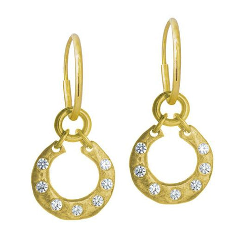 Gold Crescent Earring with Stones-Brevard