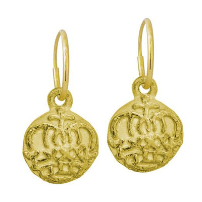 Gold Reina Coin • Endless Hoop Charm Earring-Brevard