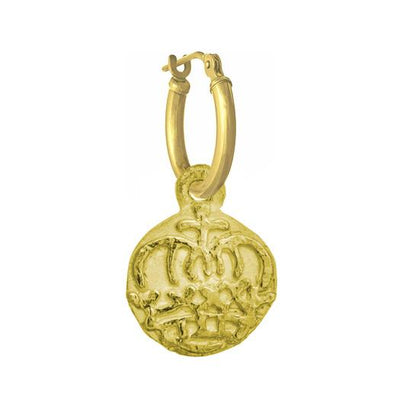 GOLD REINA COIN • LATCH HOOP CHARM EARRING-Brevard