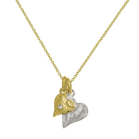 Two-Tone Apollo Heart Double Charm Necklace with Stone-Brevard
