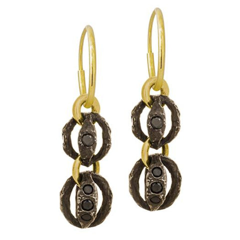 Black Diamond Lotus Double Drop Earring-Brevard