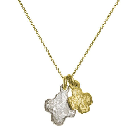 Two-Tone Double Cruz Charm Necklace-Brevard