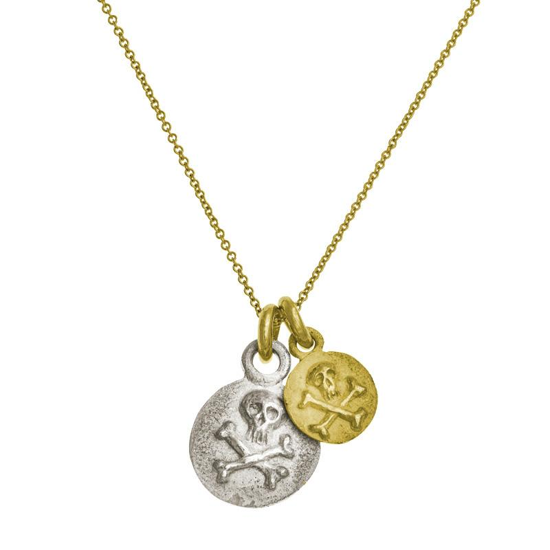 Two-Tone Double Pirate Coin Charm Necklace-Brevard