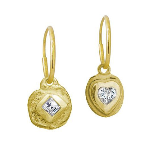 Gold Dimaond Dot + Orchid Heart Mismatch Earring Pair-Brevard