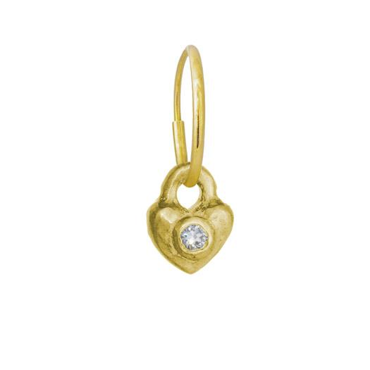 Gold Double Heart with Stone • Endless Hoop Charm Earring-Brevard