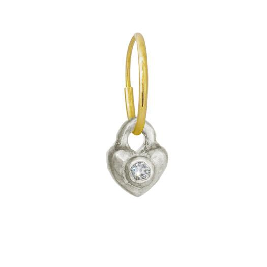 Double Heart with Stone • Endless Hoop Charm Earring-Brevard