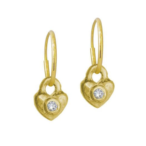Gold Double Heart Earring with Stone-Brevard