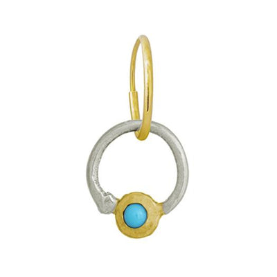 Two-Tone Turquoise Double Hoop • Endless Hoop Charm Earring-Brevard