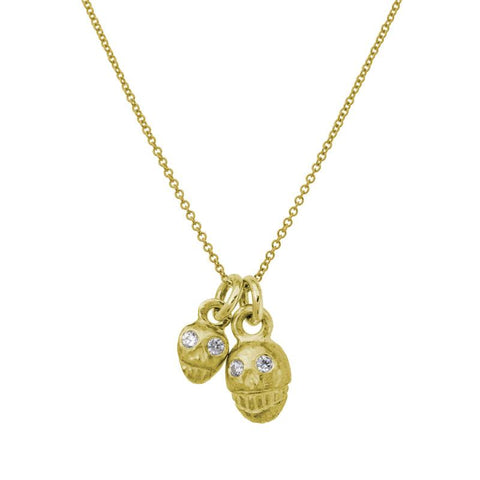 Gold Double Rodger Charm Necklace with Stones-Brevard