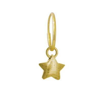 Gold Double Star • Endless Hoop Charm Earring-Brevard