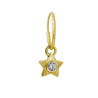 Gold Double Star with Stone • Endless Hoop Charm Earring-Brevard
