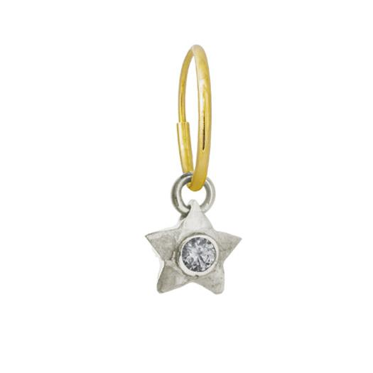 Double Star with Stone • Endless Hoop Charm Earring-Brevard