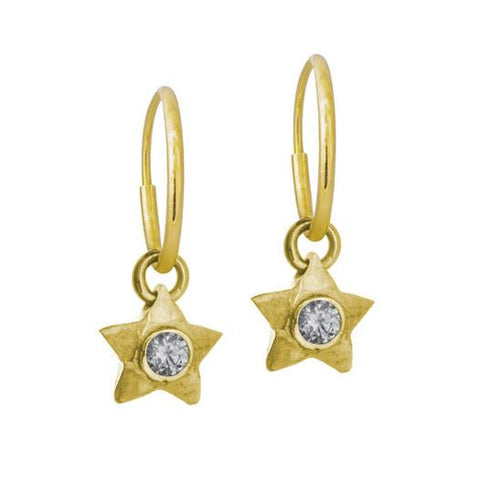 Gold Double Star Earring with Stone-Brevard