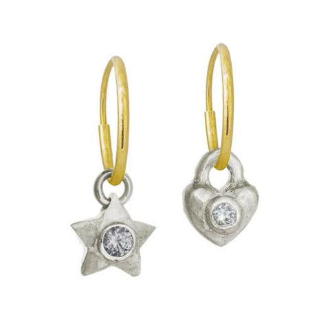 Double Star & Heart with Stones • Mismatch Endless Hoop Charm Earrings-Brevard