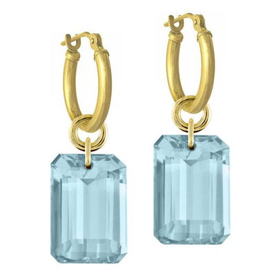 Sky Blue Topaz Jumbo Drilled Stone • Latch Hoop Charm Earring-Brevard