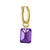 Amethyst Drilled Stone • Latch Hoop Charm Earring-Brevard