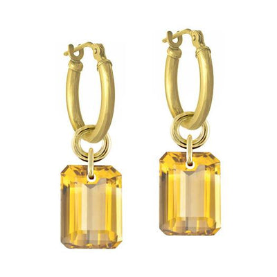 Citrine Drilled Stone • Latch Hoop Charm Earring-Brevard