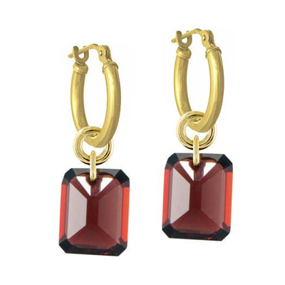 Garnet Drilled Stone • Latch Hoop Charm Earring-Brevard