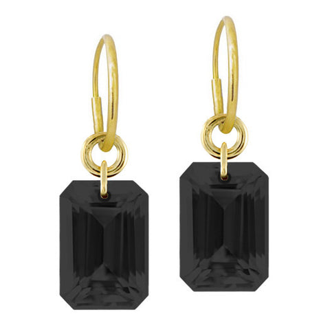 Jumbo Drilled Black Stone Earring-Brevard