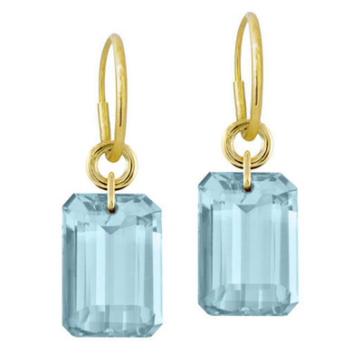 Sky Blue Topaz Jumbo Drilled Stone • Endless Hoop Charm Earring-Brevard
