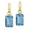London Blue Topaz Jumbo Drilled Stone • Endless Hoop Charm Earring-Brevard
