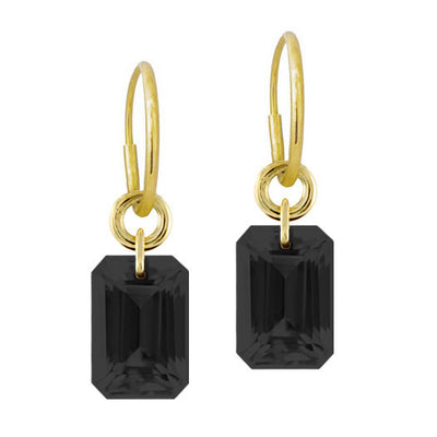 Medium Drilled Black Stone Earring-Brevard