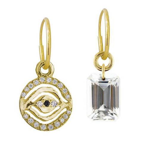 Gold Pavé Horus + Medium Drilled Stone Mismatch Earring Pair-Brevard