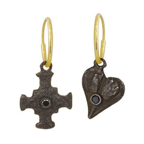 Black Diamond E.T. Cross + Apollo Heart Mismatch Earring Pair-Brevard
