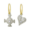 E.T. Cross & Apollo Heart with Stones • Mismatch Endless Hoop Charm Earrings-Brevard