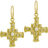 Gold Medium E.T. Cross Earring with Stones-Brevard