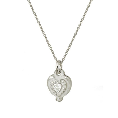 Empire Heart Charm Necklace with Stone-Brevard