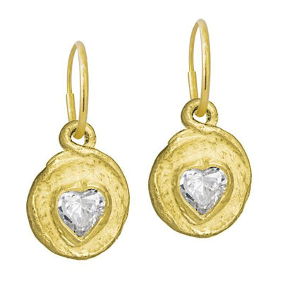 Gold Faceted Heart • Endless Hoop Charm Earring-Brevard