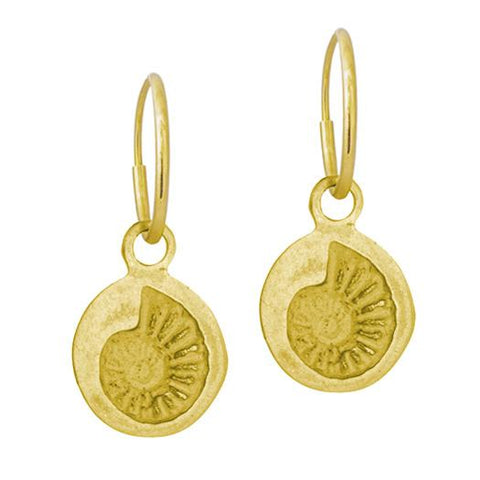 Gold Fossil Shell Earring-Brevard