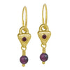 Gold Garnet Triangle Drop • Endless Hoop Charm Earring-Brevard