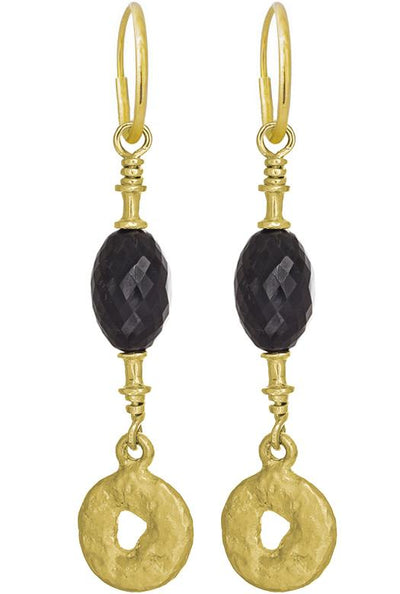 Gold Fancy Old Money with Black Spinel • Endless Hoop Charm Earring-Brevard