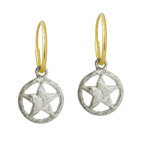 Hammered Star • Endless Hoop Charm Earring-Brevard