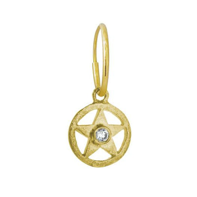 Gold Hammered Star with Stone • Endless Hoop Charm Earring-Brevard