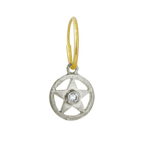 Hammered Star with Stone • Endless Hoop Charm Earring-Brevard