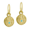 Gold Hamsa Coin with Turquoise • Endless Hoop Charm Earring-Brevard