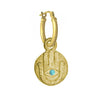 Gold Hamsa Coin with Turquoise • Latch Hoop Charm Earring-Brevard