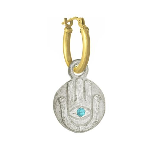 Hamsa Coin with Turquoise • Latch Hoop Charm Earring-Brevard